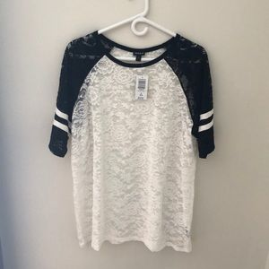Never used lace layer shirt. Baseball jersey look